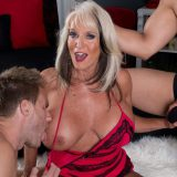 Sally D'Angelo is a constantly horny 60something swinger with big tits and a husband who likes to watch his wife get fucked and creamed on. On this day, in this video, Sally only gets to talk during the first few minutes before two young dudes take tu...